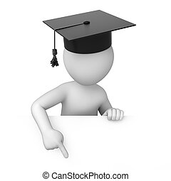 graduate points a finger down. 3d image with a work path