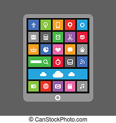 Modern tablet gadget with abstract color tile interface