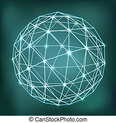 Abstract geometric sphere composition with glowing points