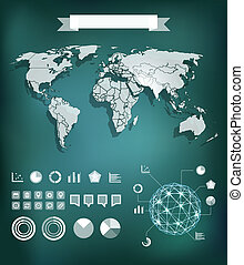 Infographic element template. World map and different charts