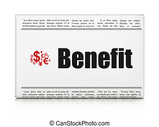 Finance news concept: newspaper with Benefit and Finance...