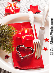 Christmas table place setting - Decorated Christmas Dinner...