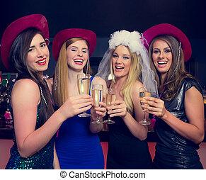 reír, noche, Tintinear, gallina, champaña, amigos, anteojos