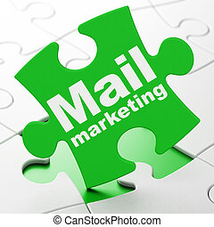 Advertising concept: Mail Marketing on puzzle background -...