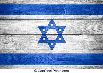 flag of Israel or Israeli banner on wooden background