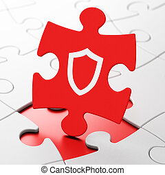 Security concept: Contoured Shield on puzzle background