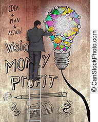 Rear view of businessman touching painted bulb on brown wall...