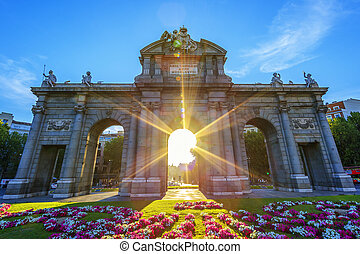 Famous Puerta de Alcala at sunset, Madrid, Spain