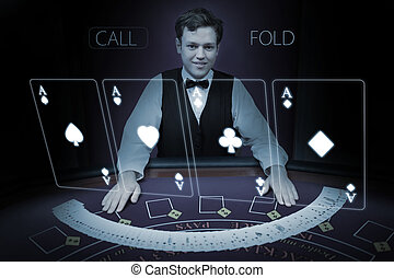 Picture of croupier standing behind holographic cards in...