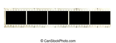 vintage black and white filmstrip isolated on white...