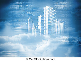 Digitally generated hologram of city in clouds on blue...