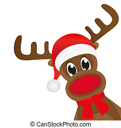 Christmas deer in a red scarf waving paw