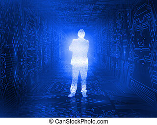 Glowing silhouette of businessman