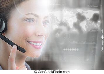 Cheerful call center employee looking at futuristic...