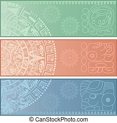 Banners with ancient American ornaments - Vector banners...