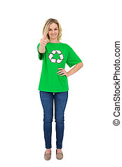 Happy blonde environmental activist giving thumb up to...