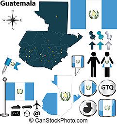 Map of Guatemala - Vector of Guatemala set with detailed...