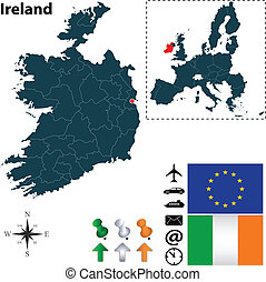 Map of Ireland with European Union