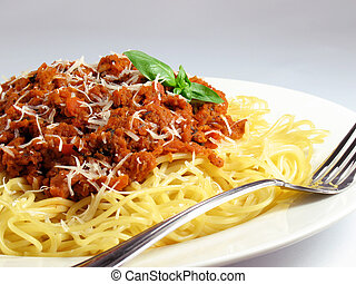 Spaghetti Pasta and Sauce - Spaghetti noodles with meat...