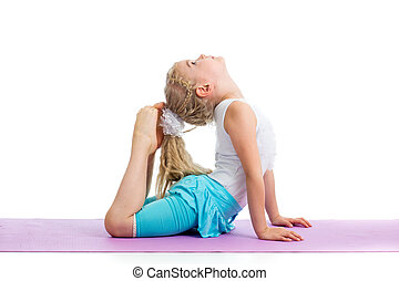 kid girl doing gymnastics
