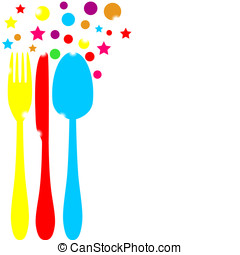 festive colored cutlery