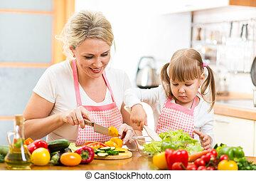mom and kid girl preparing healthy food
