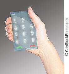 hi tech phone in a female hand