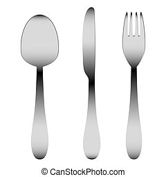 steel cutlery on a white background