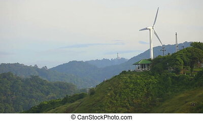 Wind power plant on the hill at Phuket Island, Thailand.