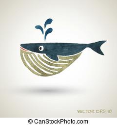 Ilustración, ballena, pez, Pintura