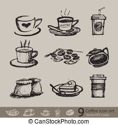 vector sketch of accessory coffee create