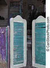 Old wooden gate - The gate of house in east style in old...