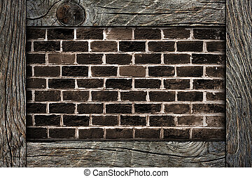brick wall and wooden frame