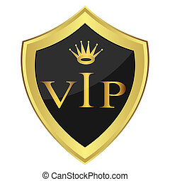 Black shield with the inscription VIP