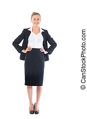 Front view of cheerful young businesswoman