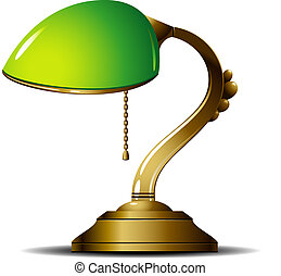 Green Lamp - Green desk lamp. Vector illustration.