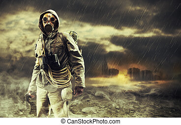 Destruction - A lonely hero wearing gas mask, city destroyed...