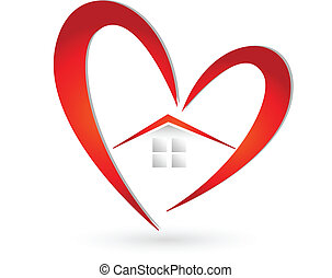 House and heart logo vector - House and heart icon vector