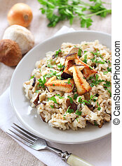 Risotto with mushrooms - Risotto with white mushrooms and...