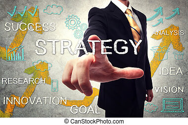 Businessman pointing STRATEGY with handwriting cartoon