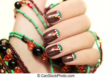 Ethnic art design - Ethnic art design of the nails on a...