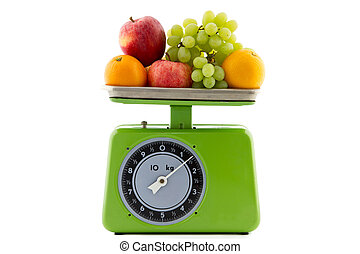 vintage kitchen scale with fruit - green vintage kitchen...