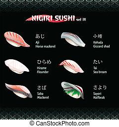 Nigiri sushi III - Nigiri sushi with mackerel, flounder,...