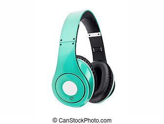 verde, auriculares
