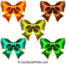 Holiday bows with gold edging - Vector illustration -...
