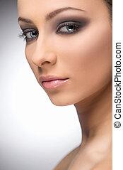 bonito, maquiagem, Retrato, confiante, mulheres, maquiagem,...