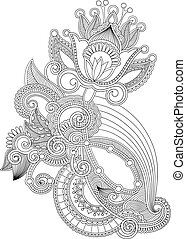 Hand draw line art ornate flower design. Ukrainian...
