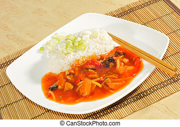 Chicken Sweet - sour with rice