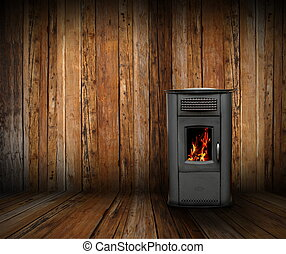 cozy interior backdrop of a wooden lodge with burning stove