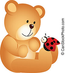 Teddy Bear with Ladybird - Scalable vectorial image...